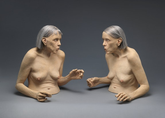 Tip Toland, The Whistlers, 2005. Stoneware, paint, pastel, synthetic hair, 22 x 50 x 19 1/2 inches. The Metropolitan Museum of Art, New York.
