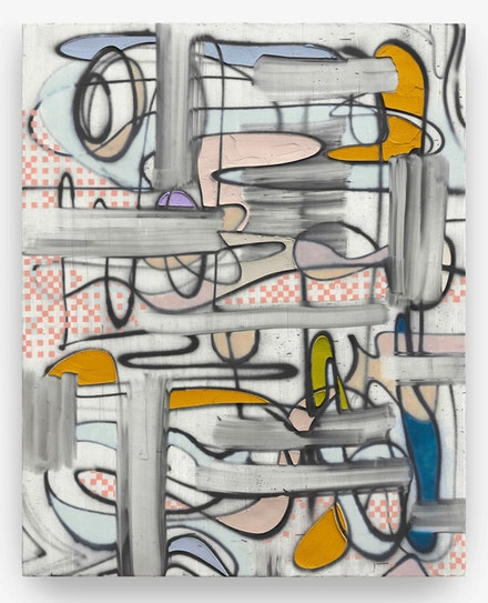Keltie Ferris, <em>I O</em>, 2018. Oil and acrylic on canvas, 96 by 77 1/8 inches. © Keltie Ferris. Courtesy the artist and Mitchell–Innes & Nash, NY.