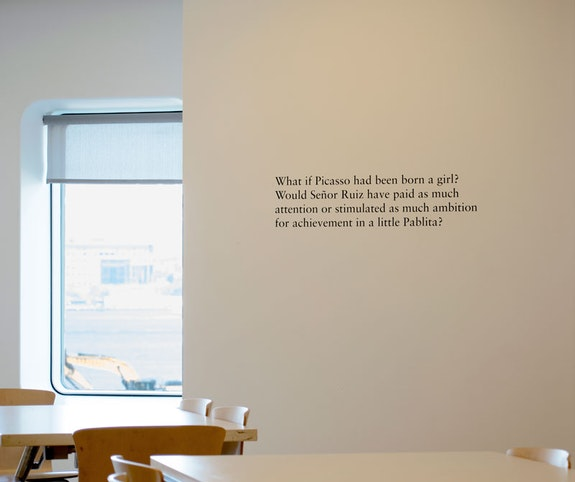 Zoe Leonard, <em>Homage</em>, installation view, 2018. Screenprinted text on wall, dimensions variable. Photo: Louis Block.