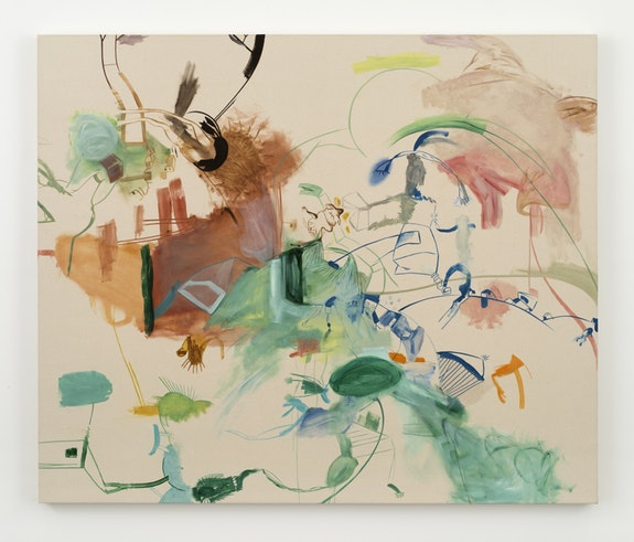 Sue Williams, <i>Pleasantville</i>, 2018, Oil on canvas, 50 x 60 x 1 3/4 inches (127 x 152.4 x 4.4 cm). &copy; Sue Williams, Courtesy Regen Projects, Los Angeles