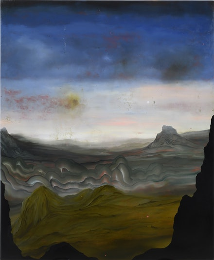 Darren Waterston, <em>The Ridge</em>, 2017. Oil on wood panel, 72 x 60 inches. © Darren Waterston, Courtesy D.C. Moore Gallery, New York