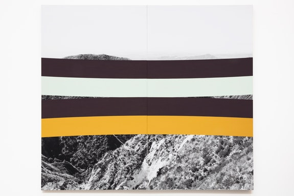 <p>James Hyde, <em>City and Hills</em>, 2016, acrylic dispersion on archival inkjet print sealed with urethane and uv varnish on stretched linen,83 x 72.50 inches</p>
