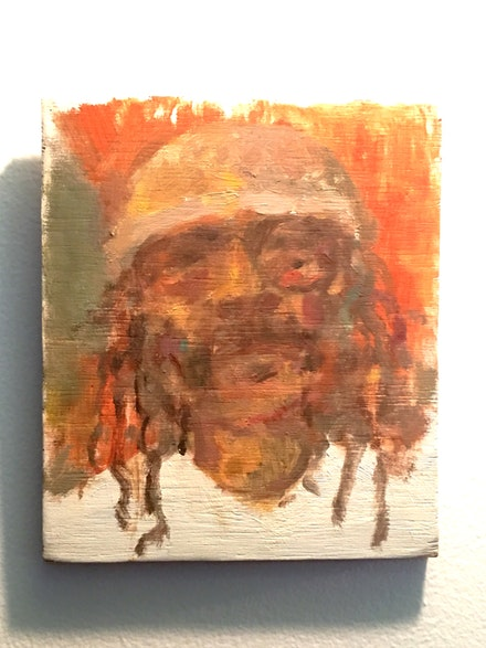 <em>Cecil Taylor</em>, oil on wood. painting by Todd Masuda.