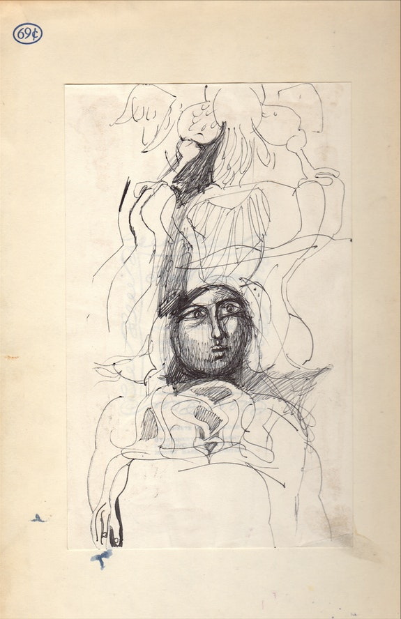 Rosemarie Beck, Journal #6 cover (interior), ink on paper, 9x12 inches, 1963. Courtesy of the Rosemarie Beck Foundation