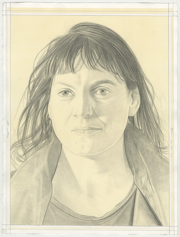 Portrait of Yto Barrada, pencil on paper by Phong Bui.