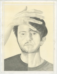 Portrait of Felix Bernstein and Gabe Rubin, pencil on paper by Phong Bui.
