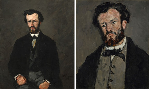 <p>Left: Paul Cézanne, <em>Antony Valabrègue</em>, 1866. Oil on canvas, 45 13/16 x 38 3/4 inches. National Gallery of Art, Washington, Collection of Mr. and Mrs. Paul Mellon. Right: Paul Cézanne, <em>Antony Valabrègue</em>, 1869–1871. Oil on canvas, 23 5/8 x 19 3/4 inches. The J. Paul Getty Museum, Los Angeles.</p>