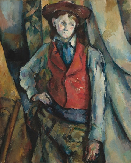 <p>Paul Cézanne, <em>Boy in a Red Waistcoat</em>, 1888–1890. Oil on canvas, 35 1/4 x 28 1/2 inches. National Gallery of Art, Washington, Collection of Mr. and Mrs. Paul Mellon, in Honor of the 50th. Anniversary of the National Gallery of Art.</p>