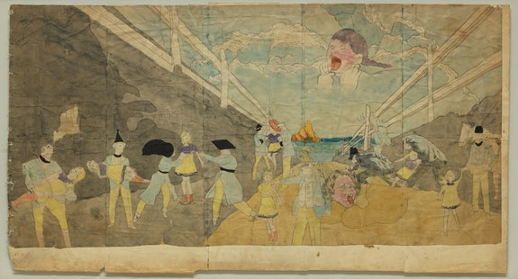 Henry Darger, <em>Untitled (Strangled child in the sky)</em>, n.d. Watercolor and pencil on paper, 23 x 43 1/2 inches. Gift of the artist's estate in honor of Klaus Biesenbach. Digital Image &copy; The Museum of Modern Art/Licensed by SCALA / Art Resource, NY.