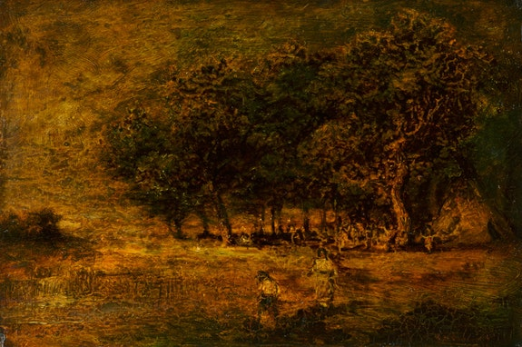 Ralph Albert Blakelock, <em>Earthen Spirits</em>, ca. 1880s. Oil on panel, 11 x 17 inches. Courtesy Questroyal Fine Art, LLC, New York, New York