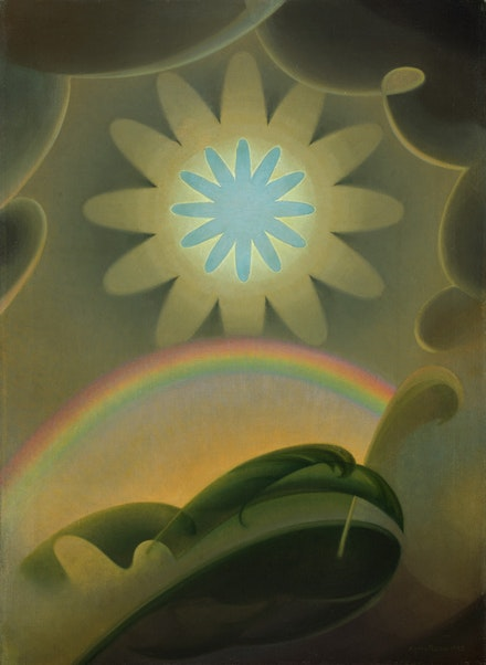 Agnes Pelton, <em>Sand Storm</em>, 1932. Oil on canvas, 30 1/4 x 22 inches. Crystal Bridges Museum of American Art, Bentonville, Arkansas. Photo: Edward C. Robinson III.
