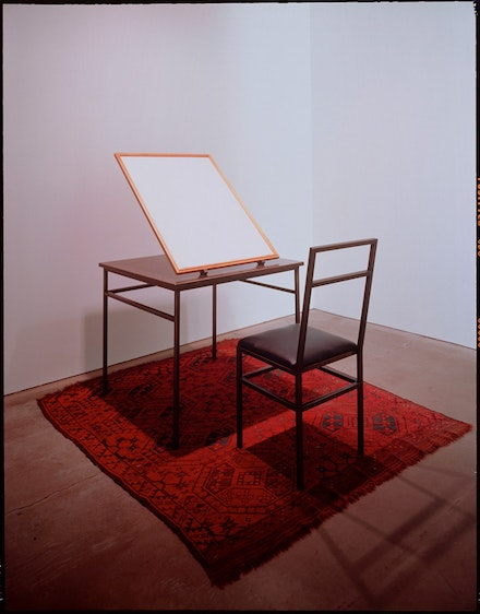 Duane Zaloudek, <em>Nomad Song</em>, 1993. Watercolor on JGreen watercolor paper in cherry wood box with unhinged lid on bronze table with bronze chair. Painting: 31 x 22 3/4 inches. Gallery Akire Ikeda, NYC.