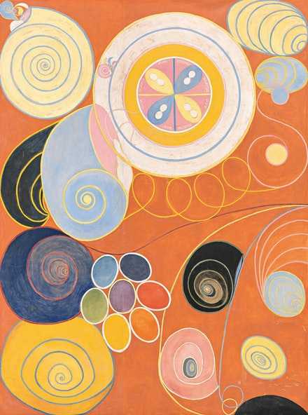 Hilma af Klint, <em>Group IV, No. 3. The Ten Largest, Youth</em>, 1907. 321 x 240 cm. The Hilma af Klint Foundation.