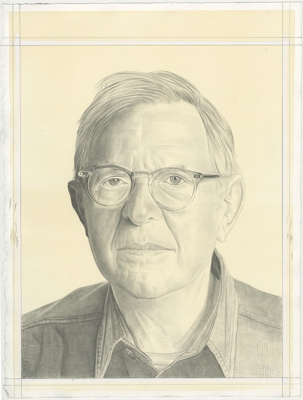 Portrait of John Elderfield, pencil on paper by Phong Bui.