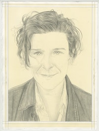 Portrait of Zoe Leonard, pencil on paper by Phong Bui.