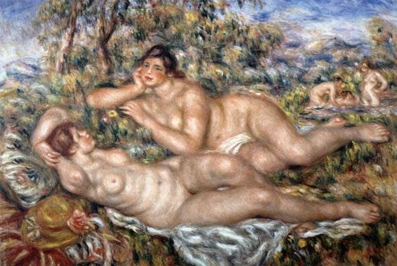 Pierre-Auguste Renoir,<em>Les Baigneuses</em>, 1918 – 19. Oil on canvas, 24 × 43 inches. Musée d'Orsay, Paris.