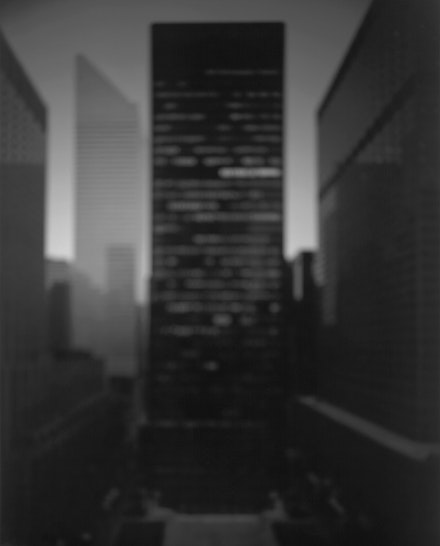 Hiroshi Sugimoto, <em>Seagram Building</em>, 1997. Gelatin silver print, 58 3/4 x 47 inches. Courtesy the artist. Image courtesy Fraenkel Gallery, San Francisco/ Marian Goodman Gallery, New York. &copy; 2018 Hiroshi Sugimoto.