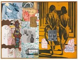 David&nbsp;Salle,&nbsp;<em>Old Bottles</em>,&nbsp;1995. Oil and acrylic on canvas, 96 1/8 &nbsp;x 128 1/8.&nbsp;&copy; David&nbsp;Salle&nbsp;/ Licensed by VAGA, New York, NY.