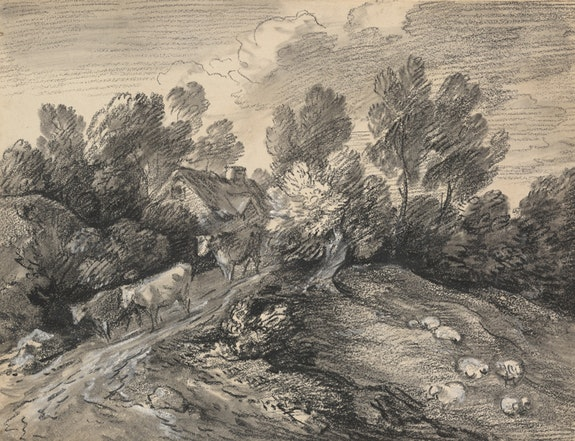 Thomas Gainsborough, <em>Hilly Landscape with Cows on the Road</em>, ca. 1780. Black chalk with smudging, white chalk applied wet, on wove paper. The Morgan Library & Museum. Photo: Steven H. Crossot, 2014.