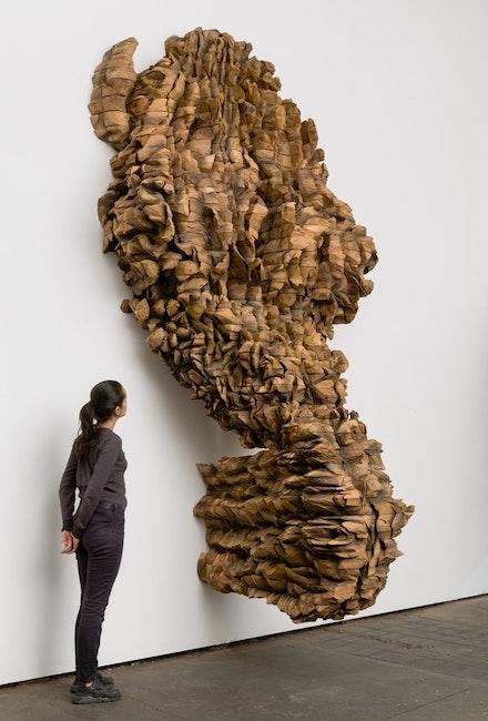 Ursula von Rydingsvard, <em>DWA</em>, 2017. Cedar, 104 x 70 x 51 inches. Photo: Etienne Frossard. © Ursula von Rydingsvard. Courtesy Galerie Lelong & Co.