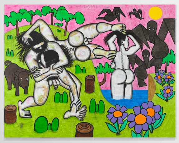 Carroll Dunham, <em>Any Day</em>, 2017. Urethane, acrylic and pencil on linen, 78 x 100 inches, 83 3/4 x 105 x 5/8 inches. © Carroll Dunham. Courtesy the artist and Gladstone Gallery, New York and Brussels.