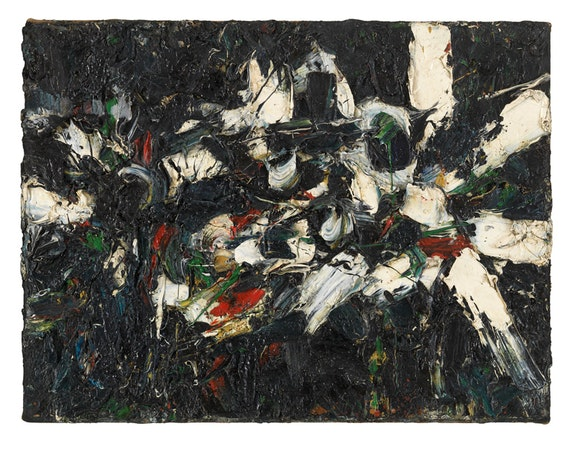 Al Held, <em>Untitled</em>, 1952-53. Oil on canvas, 18 1/4 x 24 1/4 inches. Courtesy of the Al Held Foundation. Inc., Nathalie Karg Gallery and Cheim & Read New York / Licensed by Artists Rights Society (ARS) New York.