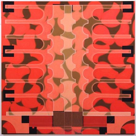 <p>Angela Heisch, <em>Back Bone</em>, 2018. Acryla gouache on muslin over panel, 36 x 36 inches. Courtesy Gallery 106 Green.</p>