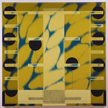 Angela Heisch, <em>Slip in the Sky</em>, 2018. Acryla gouache on muslin over panel, 20 x 20 inches. Courtesy Gallery 106 Green.