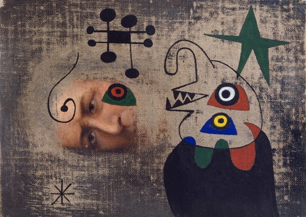 Joan Miró, <em>Personnage dans la nuit</em>, 1944. Oil and gouache on canvas, 6 x 9 inches. © 2018 Successió Miró / Artists Rights Society (ARS), New York / ADAGP, Paris.
