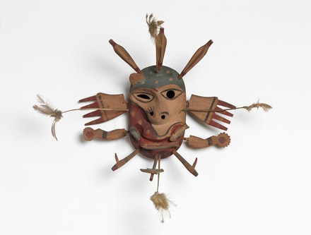 Yup'ik Mask, Goodnews Bay, Alaska. Wood, paint and feathers, 10 5/8 x 19 1/8 inches. Private Collection, New York.