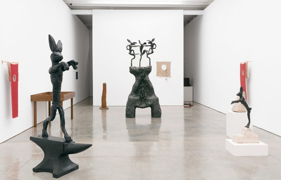 Installation view of Barry Flanagan, <em>The Hare Is Metaphor</em>, Paul Kasmin Gallery, 2018. Photo:  Diego Flores.