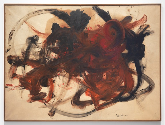 Kazuo Shiraga, <em>Torimono</em>, 1958. Oil on paper, mounted on canvas, 181.9 x 242.9 cm. © Kazuo Shiraga.