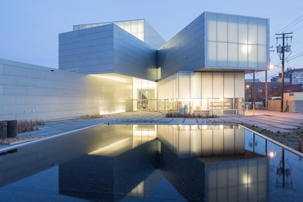 View of the Institute for Contemporary Art at VCU Garden at dusk. Photo: Iwan Baan.