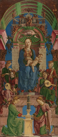 <p>Cosimo Tura, <em>The Virgin and Child Enthroned</em>, mid-1470s. Oil and egg on poplar, 239 x 101.6 cm. The National Gallery, London.</p>