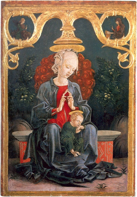 <p>Cosimo Tura, <em>Madonna and Child in a Garden</em>, c. 1460/1470, Tempera (and possibly oil) on poplar panel, 24 x 17 x 3 1/4 inches with frame. National Gallery of Art, Washington DC.</p>