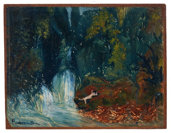Louis Michel Eilshemius, <em>Nude by a Waterfall</em>, ca. 1920–21. Oil on paper (mounted on Masonite), 7 11/16 x 10 inches. Collection Caroline Bachmann and Stefan Banz, Cully, Switzerland. Provenance: Rabin and Krueger Gallery, Newark, N. J.