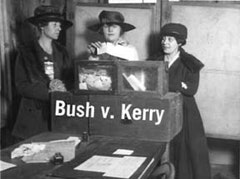 Three suffragists casting votes in New York City, 1917. Original caption: