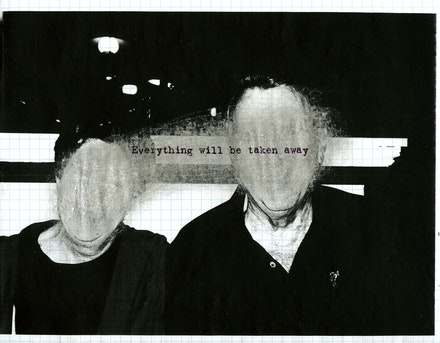 Adrian Piper, <em>Everything #2.8</em>, 2003. Photocopied photograph on graph paper, sanded with sandpaper, overprinted with inkjet text, 8.5 x 11 inches. Private Collection. © Adrian Piper Research Archive Foundation Berlin.