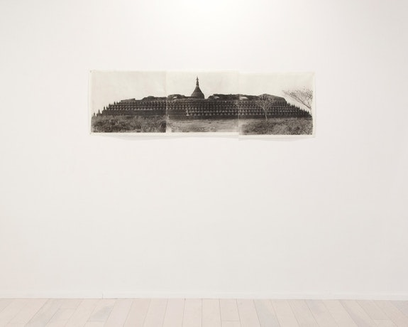 Jean Pagliuso, <em>Ko Thaung Paya (triptych)</em>, 2012, installation view. Hand-applied silver gelatin print on handmade Kozoshi paper. 17 3/4 x 66 1/4 inches. © Jean Pagliuso; Courtesy the artist and Mary Ryan Gallery, New York.</em>