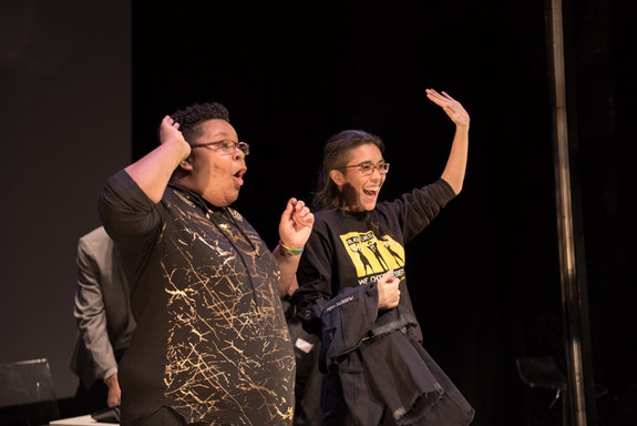 Charlie and Sulu greet the audience at The Lion Theatre at the Ali Forney Center Theatre Troupe's show <em>Get Out: Homeless Edition</em>. Photo by Alex Woodhouse.