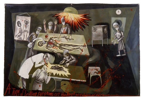 Sue Coe, <em>Baboon Heart Transplant</em>, 1985. Mixed media, oil, and collage on paper and canvas,  52 x 77 inches. © Sue Coe. Courtesy Galerie St. Etienne, New York.