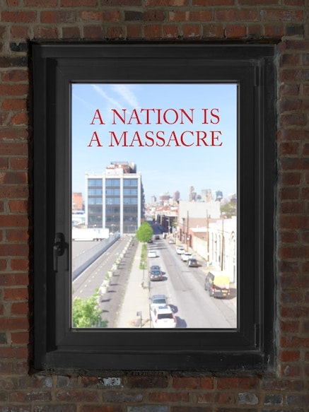 Installation view, Demian Din&eacute;Yazhi' and R.I.S.E: Radical Indigenous Survivance &amp; Empowerment:<em> A Nation is a Massacre</em>. Curated by David Everitt Howe. Pioneer Works, New York, May 17 &ndash; July 8, 2018. &copy; Dan Bradica