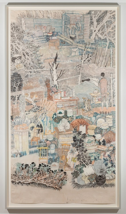 Yun-Fei Ji, <em>Family Bundles and Batches</em>, 2017-2018. Watercolor and ink on Xuan paper, 72 x 41 1/2 inches. Courtesy the artist and James Cohan. New York.