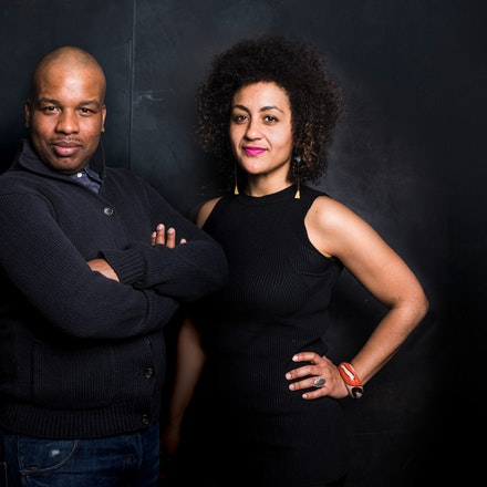 Playwright Marcus Gardley (left) and director Lileana Blain-Cruz of <em>The House That Will Not Stand</em> at New York Theater Workshop. Photo: Jenny Anderson.
