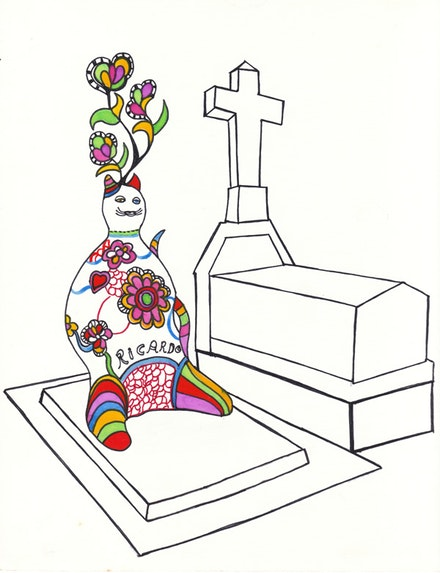 Drawing by Niki de Saint Phalle of <em>Chat de Ricardo</em> at Montparnasse.