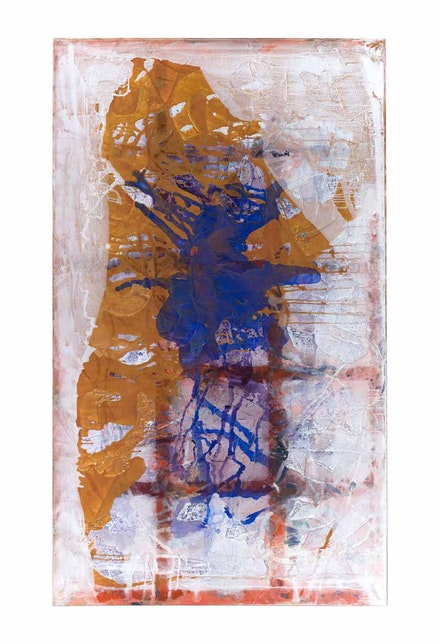 Dona Nelson, <em>Phigor </em>(front), 2014. Acrylic paint, soft gel medium, and tar gel medium on double-sided canvas with raw steel stand, 117 x 70 inches. Collection of Timothy Phillips. Photo: Jeremy Lawson.