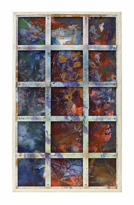 Dona Nelson, <em>Phigor </em>(back), 2014. Acrylic paint, soft gel medium, and tar gel medium on double-sided canvas with raw steel stand, 117 x 70 inches. Collection of Timothy Phillips. Photo: Jeremy Lawson.