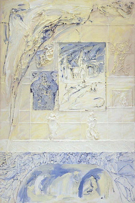 Dona Nelson, <em>My Home IV (Apartment)</em>, 2001. Cheesecloth and acrylic mediums on canvas. 90 x 60 inches. Courtesy the collection of Richard Marcus.