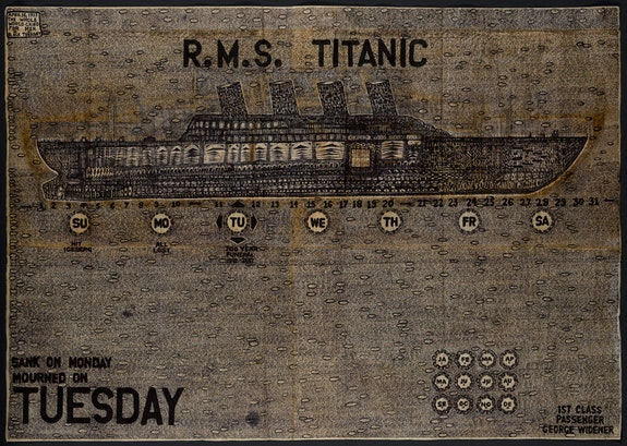 George Widener (b. 1962), <em>Funeral for Titanic</em>, Ohio, 2007, ink on paper napkin, 48 x 68 1/8 in., American Folk Art Museum, New York, gift of the artist, 2007.18.1. Photo by Gavin Ashworth, American Folk Art Museum, © George Widener.