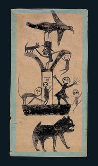 Bill Traylor (1853–1949), untitled (Figures and Construction with Blue Border), Montgomery, Alabama, United States, c. 1941, poster paint and graphite on cardboard, 15 1/2 x 8 in., American Folk Art Museum, New York, gift of Charles and Eugenia Shannon, 1991.34.1. Photo by John Parnell, American Folk Art Museum.